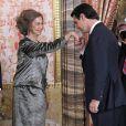 La reine Sofia d'Espagne lors de la réception au palais royal pour la fête nationale de l'Espagne à Madrid, le 12 octobre 2013.