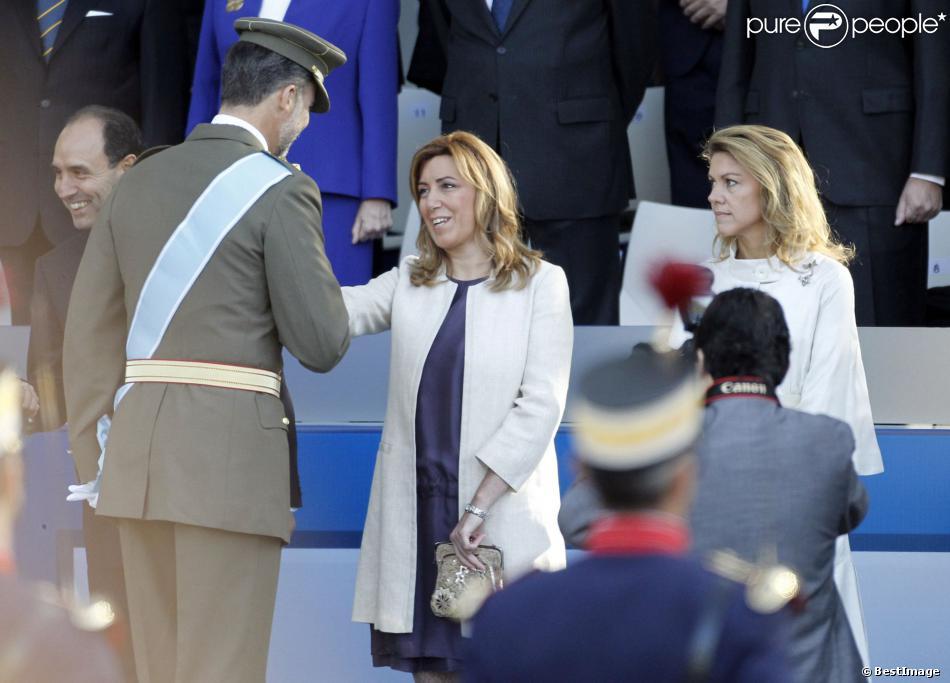 Le prince Felipe d'Espagne lors de la parade militaire pour la fête nationale d'Espagne à Madrid, le 12 octobre 2013.