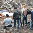 Mark Wahlberg sur le tournage de Transformers : l'âge de l'extinction, sous la direction de Michael Bay, à Détroit aux Etats-Unis le 31 juillet 2013