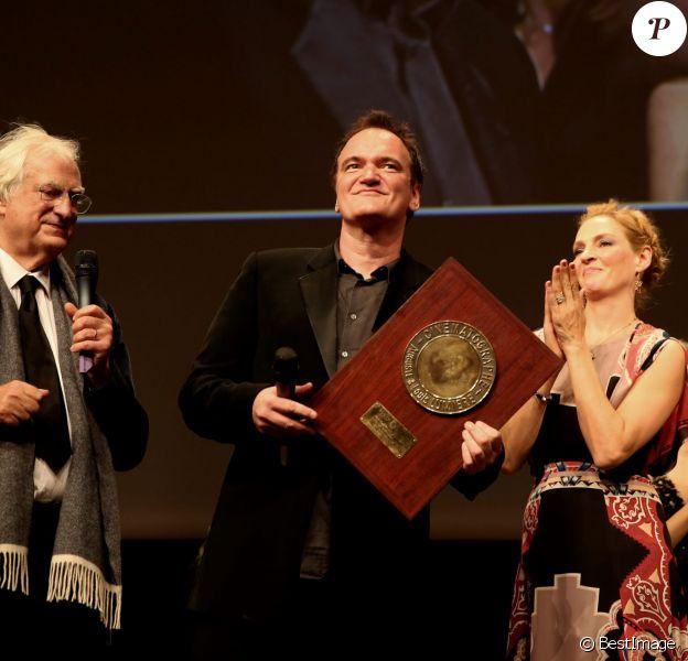 Quentin Tarantino et sa muse Uma Thurman - Remise du Prix Lumière à Quentin Tarantino lors du Festival Lumière à Lyon le 18 octobre 2013.