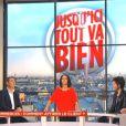 """La présentatrice Sophia Aram, dans son émission """"Jusqu'ici tout va bien"""". Septembre 2013."""