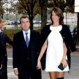 Arnaud Lagardère et Jade Foret - Arrivées des people au défilé Chanel printemps-été 2014. Paris, le 1er octobre 2013.