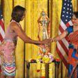 La First Lady américaine Michelle Obama a eu droit à un cours de danse façon Bollywood lors d'une fête pour Diwali, à la Maison-Blanche, le 5 novembre 2013.