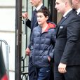 René-Charles, le fils aîné de Céline Dion, sort de son hôtel parisien, le 12 novembre 2013.