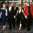 Guillaume et Julie et leurs parents Elisabeth et Gérard Depardieu au Festival de Cannes, en mai 1992.