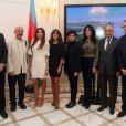 "Exclusif - Elchin Amirbayov (Ambassadeur de l'Azerbaïdjan en France), Reza Deghati, Mehriban Alieva (première dame de l'Azerbaïdjan et présidente de la Fondation Heydar Aliyev), Leyla Alieva (vice-présidente de la Fondation Heydar Aliyev), Rachida Dati, Yamina Benguigui, Dr Abdulaziz Othman Altwaijri (Directeur Général de l'ISESCO), Jean-Marie Bockelau vernissage de l'exposition ""Azerbaïdjan: Terre de Tolérance""à Paris, le 22 novembre 2013"