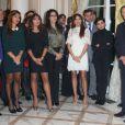 """Exclusif - Irina Bokova (Directrice Générale de l'UNESCO), Jean-Marie Bockel, Rachida Dati, Mehriban Alieva et ses deux filles Leyla et Arzu, Yamina Benguiguiau vernissage de l'exposition """"Azerbaïdjan: Terre de Tolérance""""à Paris, le 22 novembre 2013"""