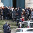 Exclusif - Céline Boisson, sa fille Juliette Martin et Frédéric Martin lors des obsèques du grand ami de Jacques Martin, Paul Ceuzin, en l'église Saint-Roch à Paris, le 19 novembre 2013