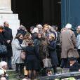 Exclusif - Céline Boisson, dernière compagne de Jacques Martinlors des obsèques du grand ami de Jacques Martin, Paul Ceuzin, en l'église Saint-Roch à Paris, le 19 novembre 2013