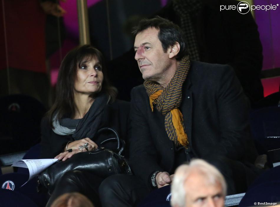 Jean Luc Reichmann et sa compagne Nathalie, au Parc des Princes, à Paris, en décembre 2012.