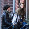 L'actrice Keri Russell et son mari Shane Deary, séparés mais en bons termes, de retour au domicile de l'actrice avec leur fille Willa à Brooklyn. New York, le 7 décembre 2013.