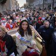 Miss France 2014, Flora Coquerel a été reçue comme une reine à Chartres, le 18 décembre 2013.