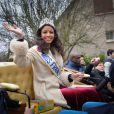 Miss France 2014, Flora Coquerel a fait un retour triomphal dans son village de Morancez en Eure-et-Loir, le 18 décembre 2013.
