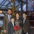 La comtesse Alexandra de Frederiksborg, ses fils les princes Felix et Nikolai de Danemark, et son mari en secondes noces Martin Jorgensen, lors du concert de Noël du Choeur de filles de Radio Danemark le 22 décembre 2013 à Copenhague.