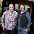 Kris Pearn et Cody Cameron, réalisateur du film L'Île des Miam-nimaux : Tempête de boulettes géantes 2, présenté au 17e Festival International du Film de Comedie de l'Alpe d'Huez, le 17 janvier 2014.