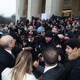 Kim Kardashian arrive au Théâtre National de Chaillot pour assister au défilé haute couture de Stéphane Rolland. Paris, le 21 janvier 2014.