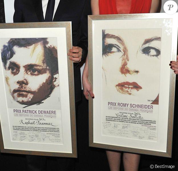 Raphaël Personnaz (Lauréat du prix Patrick Dewaere 2013) et Céline Sallette (Lauréate du prix Romy Schneider 2013) à Paris pour la 32e édition, le 11 mars 2013.