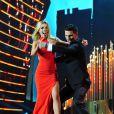 Abbey Clancy et Aljaz Skorjanec dansent pendant la cérémonie des National TV Awards à Londres, le 22 janvier 2014.