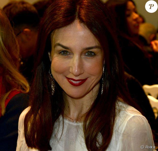 Elsa Zylbersteinassiste au défilé Zuhair Murad haute couture printemps-été 2014 aux Palais des Beaux Arts. Paris, le 23 janvier 2014.