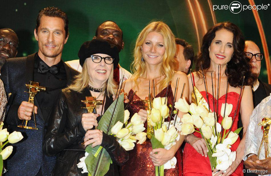 Matthew McConaughey, Diane Keaton, Gwyneth Paltrow, Andie MacDowell lors de la 49e cérémonie des Golden Camera Awards à Berlin, le 1er février 2014.
