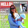 """""""Kate Middleton et le prince George de Cambridge en couverture de Hello! en date du 10 février 2014. La duchesse de Cambridge et son fils ont été photographiés à Saint-Vincent alors qu'ils allaient passer des vacances en famille sur l'île Moustique."""""""