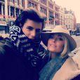 Caroline Receveur et son chéri Lucas profitent d'un week-end en amoureux à Londres. Janvier 2014.