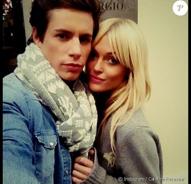 Caroline Receveur et son chéri Lucas profitent d'un week-end en amoureux à Londres. Janvier 2014. Le garçon lui a même offert une bague quelques jours avant la Saint-Valentin.