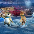 - Cérémonie d'ouverture des XXIIème jeux olympiques d'hiver à Sotchi en Russie le 7 février 2014.  ITAR-TASS: SOCHI, RUSSIA. FEBRUARY 7, 2014. Sochi 2014 mascots polar bear, leopard, and hare seen during the opening ceremony of the Sochi 2014 Olympic Games at the Fisht Olympic Stadium. (Photo ITAR-TASS/ Stanislav Krasilnikov)07/02/2014 - Sochi