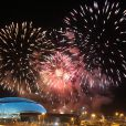 Feux d'artifices - Cérémonie d'ouverture des XXIIème jeux olympiques d'hiver à Sotchi en Russie le 7 février 2014.  ITAR-TASS: SOCHI, RUSSIA. FEBRUARY 7, 2014. Fireworks go off over the Fisht Olympic Stadium during the opening ceremony of the Sochi 2014 Olympic Games. (Photo ITAR-TASS/ Sergei Fadeichev)08/02/2014 - Sotchi