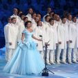 Anna Netrebko - Cérémonie d'ouverture des XXIIème jeux olympiques d'hiver à Sotchi en Russie le 7 février 2014.  ITAR-TASS: SOCHI, RUSSIA. FEBRUARY 7, 2014. Soprano Anna Netrebko (C) performing the Olympic anthem during the opening ceremony of the Sochi 2014 Olympic Games at the Fisht Olympic Stadium. (Photo ITAR-TASS/ Stanislav Krasilnikov)08/02/2014 - Sotchi