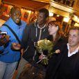 """Exclusif Nicolas Sarkozy et sa femme Carla Bruni sont allés dîner au restaurant """"Aux Bons Enfants"""" à Cannes pour fêter la Saint Valentin, après le concert de Carla Bruni au palais des festivals à Cannes. Le couple était accompagné du président du conseil général des Alpes-Maritimes Éric Ciotti et du député David Lisnard. Le 14 février 2014"""