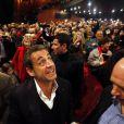 Exclusif- Nicolas Sarkozy assiste au concert de sa femme Carla Bruni au palais des festivals à Cannes. Il a été accueilli par le président du conseil général des Alpes-Maritimes Éric Ciotti et le député David Lisnard. Le 14 février 2014