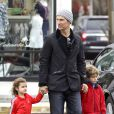 """Please hide the children's faces prior to the publication - Exclusive - Matthew McConaughey is on daddy duty and takes his kids Levi and Vida to the movie theaters to watch the new """"Lego Movie"""". The handsome actor bundled up in a beanie and jacket, while his kids matched in red. Los Angeles, CA, USA, February 18, 2014. Photo by GSI/ABACAPRESS.COM19/02/2014 - Los Angeles"""