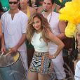 Jennifer Lopez à Miami sur le tournage du tube pour la coupe du monde football, le 11 février 2014.