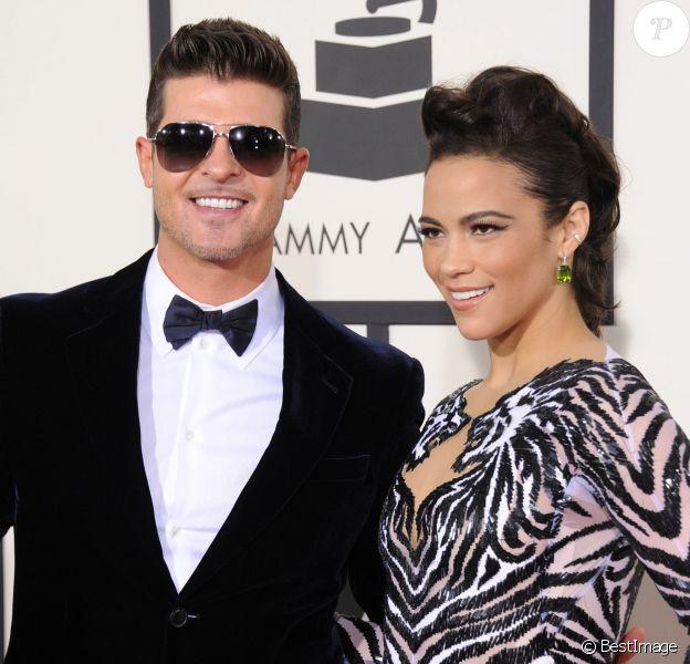 Robin Thicke et sa femme Paula Patton  à la 56e cérémonie des Grammy Awards à Los Angeles, le 26 janvier 2014.