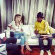 """Enora Malagré a interviewé Pharrell Williams pour l'émission """"Enora, le soir"""", diffusée sur Virgin Radio. Le 24 février 2014"""