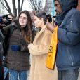 Kim Kardashian, surprise à la sortie de l'appartement de son fiancé Kanye West à New York. Le 25 février 2014.