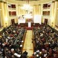 La princesse Letizia d'Espagne au Sénat, à Madrid, le 28 février 2014, pour présider une cérémonie à l'occasion de la Journée mondiale des Maladies Rares.