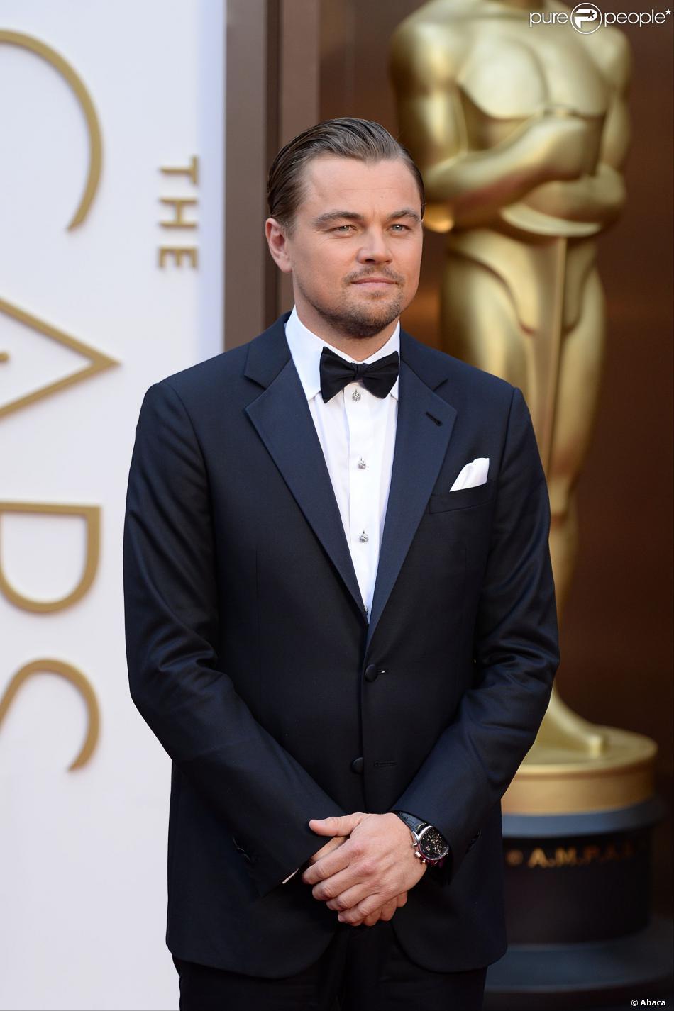 Leonardo DiCaprio, nommé comme meilleur acteur pour Le Loup de Wall Street, lors de la cérémonie des Oscars le 2 mars 2014