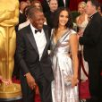 Sidney Poitier et sa fille Sydney Tamiia Poitier lors de la 86e cérémonie des Oscars, Los Angeles, le 2 mars.