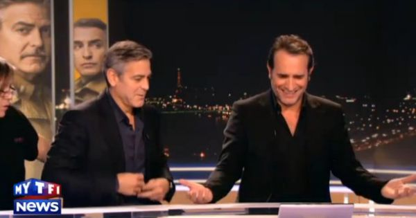 George clooney et jean dujardin s 39 amusent avant de tourner for Jean dujardin interview