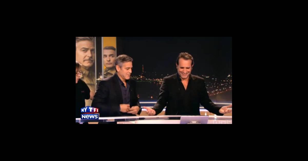 Jean dujardin et george clooney au jt de tf1 gags et for Dujardin tf1