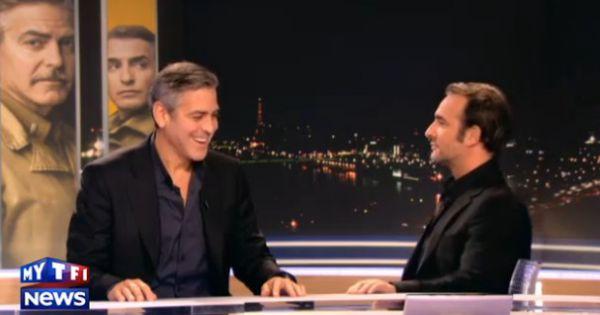 George clooney hilare devant jean dujardin avant de for Dujardin interview
