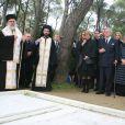 La reine Anne-Marie, le roi Constantin, la princesse Irene de Grèce, la reine Sofia d'Espagne devant la sépulture lors de la cérémonie organisée à la nécropole royale du domaine Tatoï, au nord d'Athènes, le 6 mars 2014 pour commémorer les 50 ans de la mort du roi Paul Ier de Grèce.