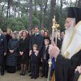 Cérémonie organisée à la nécropole royale du domaine Tatoï, au nord d'Athènes, le 6 mars 2014 pour commémorer les 50 ans de la mort du roi Paul Ier de Grèce.