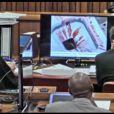 Oscar Pistorius a dû faire face à des photos sanglantes de la scène de crime, le 13 mars 2014, lors de son procès pour le meurtre de Reeva Steenkamp, à Pretoria
