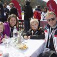 Pernilla Wiberg avec son mari et leurs enfants Sofia et Axel lors de l'événement World Stars Ski au profit de Star Team for Children, association fondée par le prince Albert II de Monaco, le 22 mars 2014 à Seefeld in Tyrol, en Autriche.