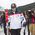 Le souverain monégasque fin prêt lors de l'événement World Stars Ski au profit de Star Team for Children, association fondée par le prince Albert II de Monaco, le 22 mars 2014 à Seefeld in Tyrol, en Autriche.