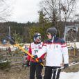 Riccardo Patrese et Albert de Monaco lors de l'événement World Stars Ski au profit de Star Team for Children, association fondée par le prince Albert II de Monaco, le 22 mars 2014 à Seefeld in Tyrol, en Autriche.