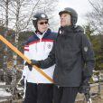 Les princes Albert II de Monaco et Emmanuel-Philibert de Savoie lors de l'événement World Stars Ski au profit de Star Team for Children, association fondée par le prince Albert II de Monaco, le 22 mars 2014 à Seefeld in Tyrol, en Autriche.
